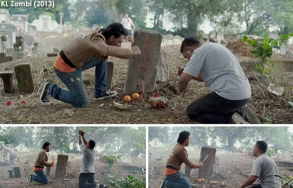 Screengrabs from a local film showing grave worship to get numbers. Img from FILEMKITA's Twitter.