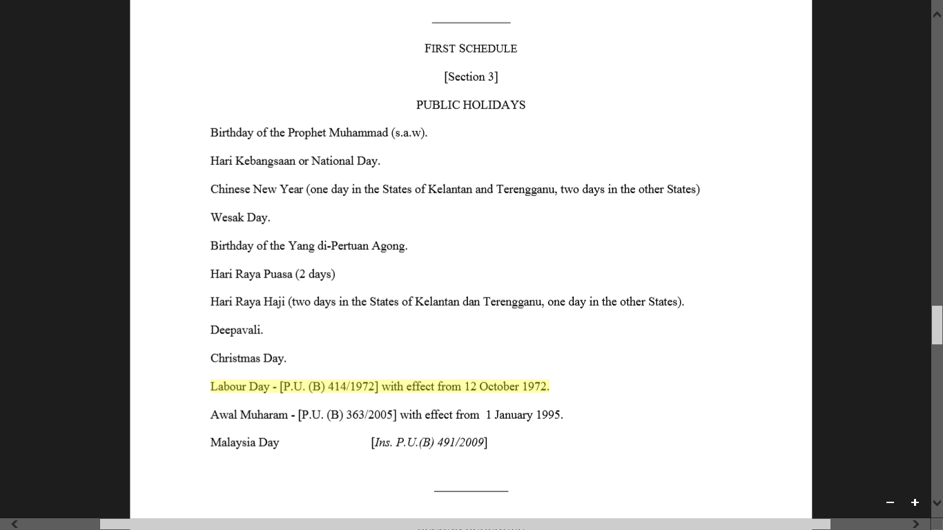 List of public holidays in Malaysia. Screengrab from Holiday Act 1951