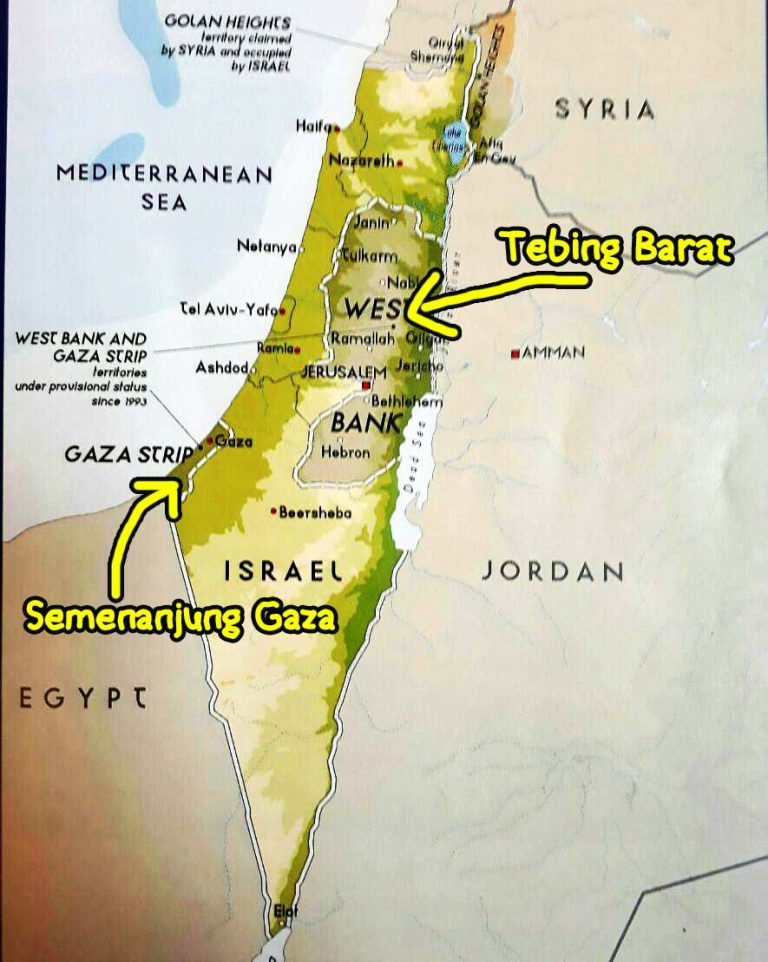 Map showing the divide between the Gaza Strip and the West Bank. Taken from a Soscili article.