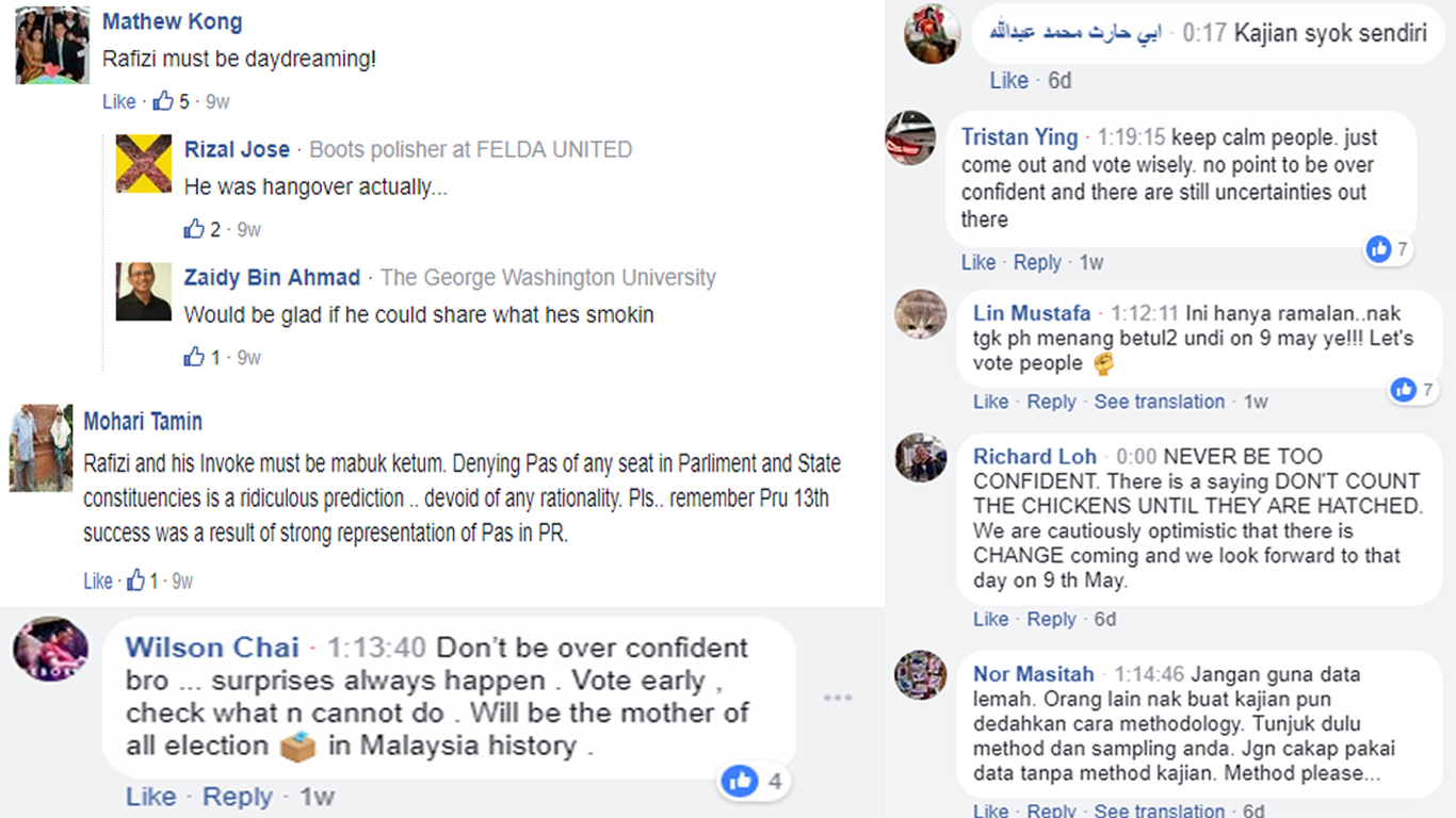 Compilation of comments on Rafizi's GE14 predictions