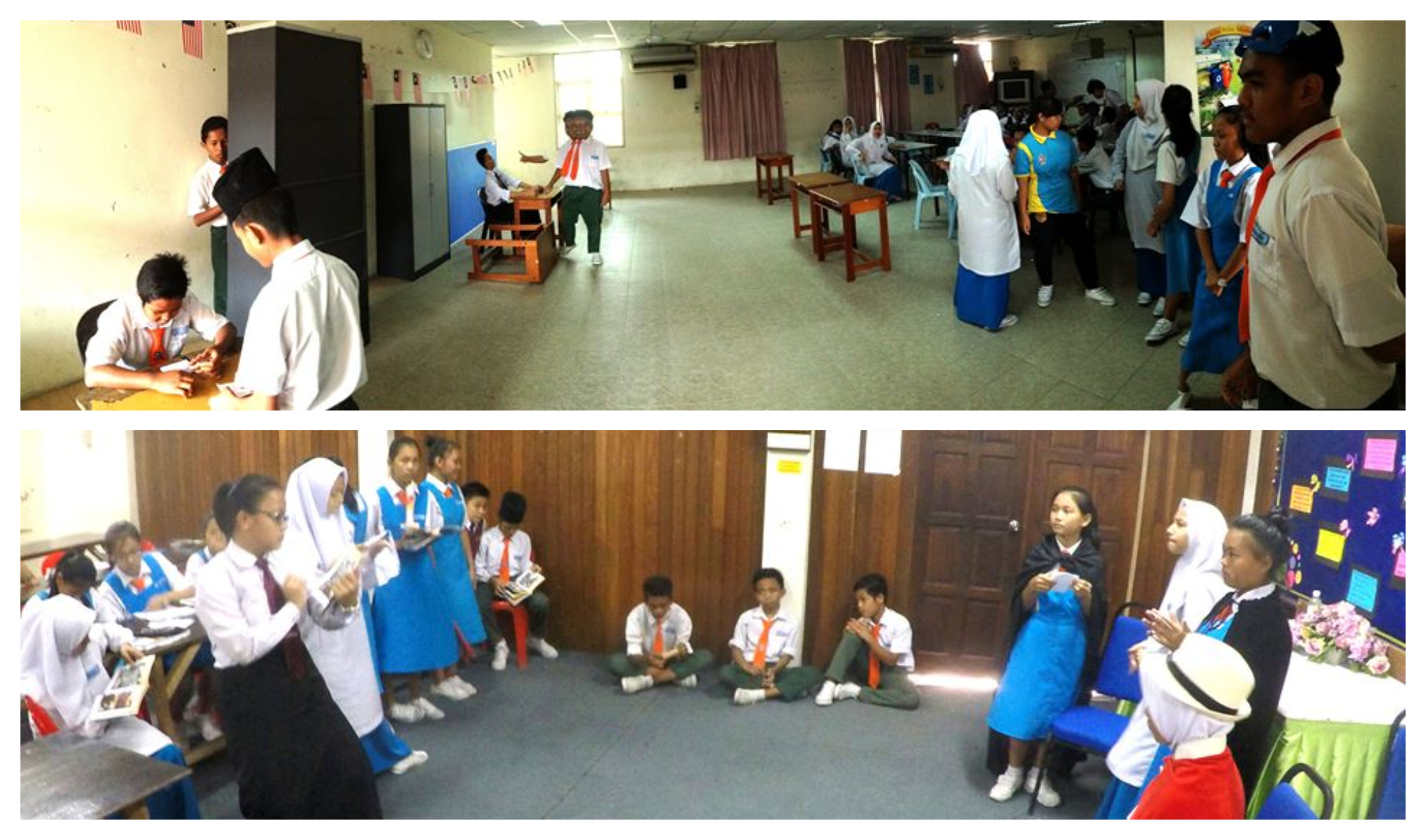 Top photo: the students learnt how to vote, bottom: some students played Lancelot & Arthur while the rest read the graphic novel to follow their progress. Image from Raee Yeoh's Facebook