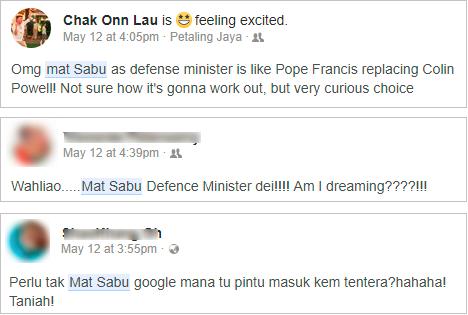 mat sabu defence minister facebook comment