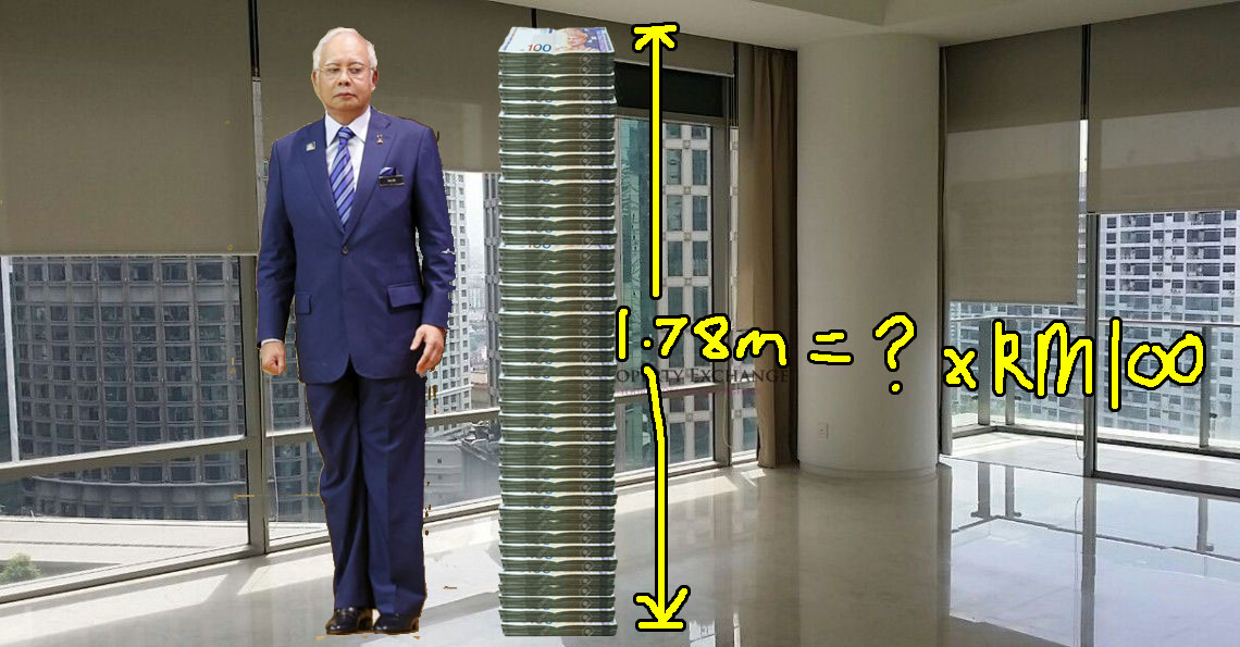 It takes about 15,000 RM100 notes to be as tall as Najib. How many Najibs to pay back the refunds ah?