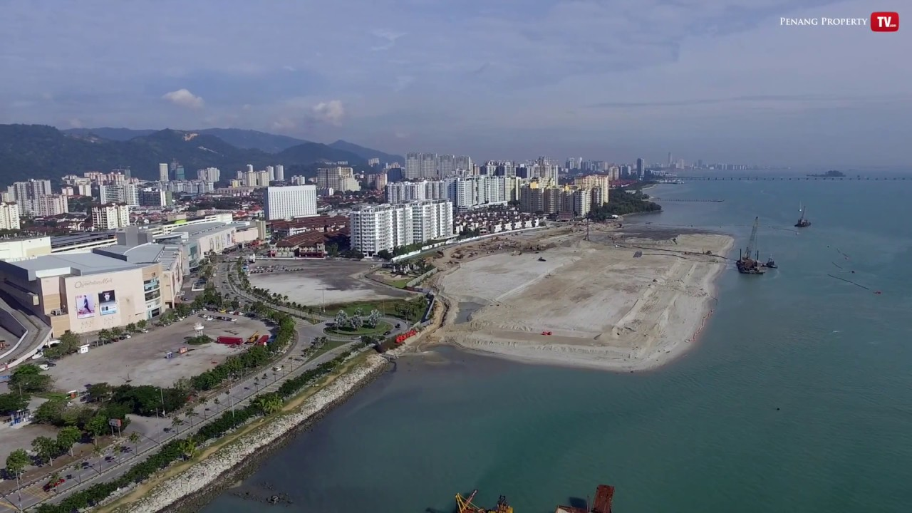 Land reclamation projects, like this one in Penang, had came under fire by environmentalists. Screengrab from Penang Property TV.