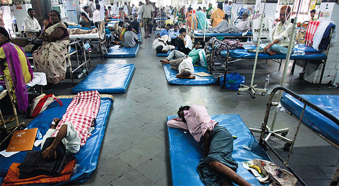 Imagine trying to get cancer treatment under conditions like this. Img from hindustantimes.com