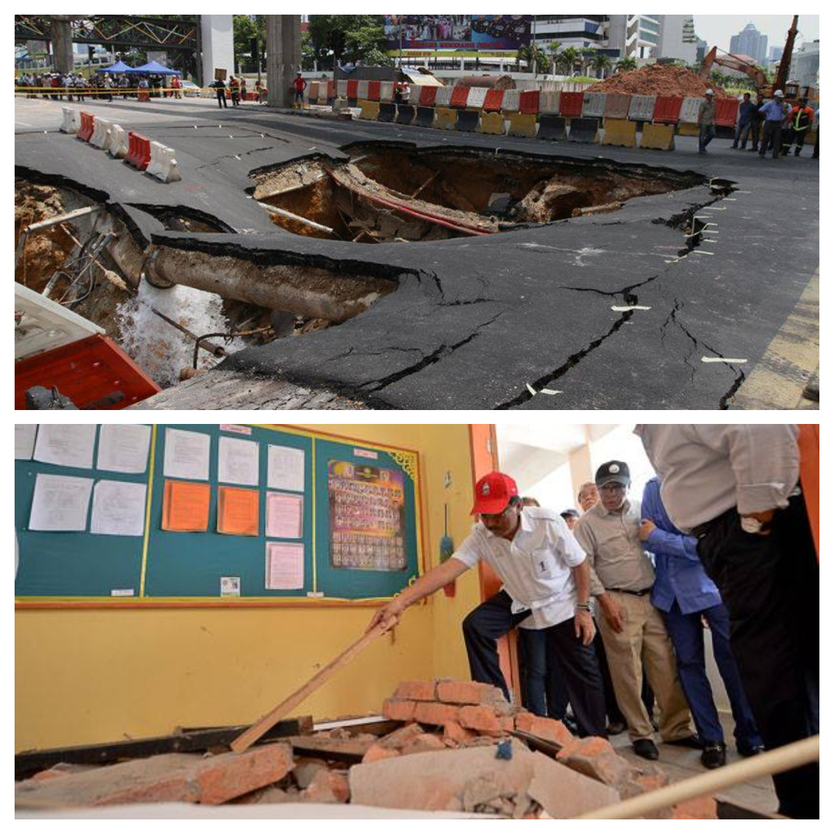 Sinkhole at Bukit Bintang (top) and building damage due to Sabah quake (below). Images from MalayMail and The Borneo Post