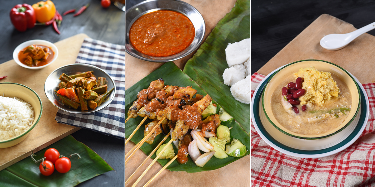 Anuar's Fish Head Curry, satay from Satay Capitol and Durian Cendol all in your office or home.