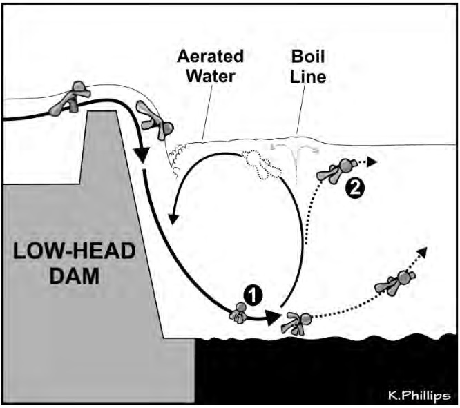What happens if you get trapped below a weir, and how you can get out. Img from
