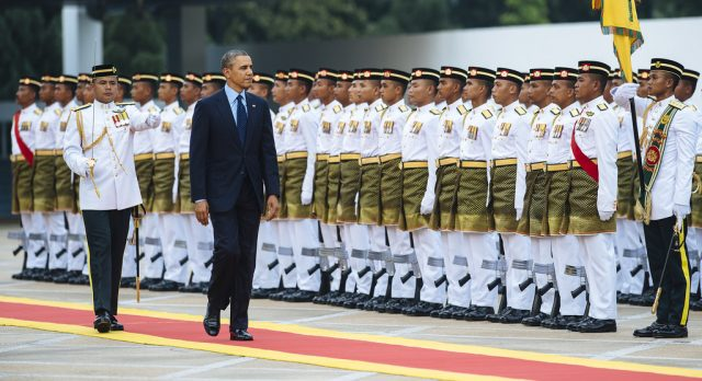 The Royal Malay Regiment performing a guard of honour for ex-US President Barack Obama. Image from: The Patriots Asia