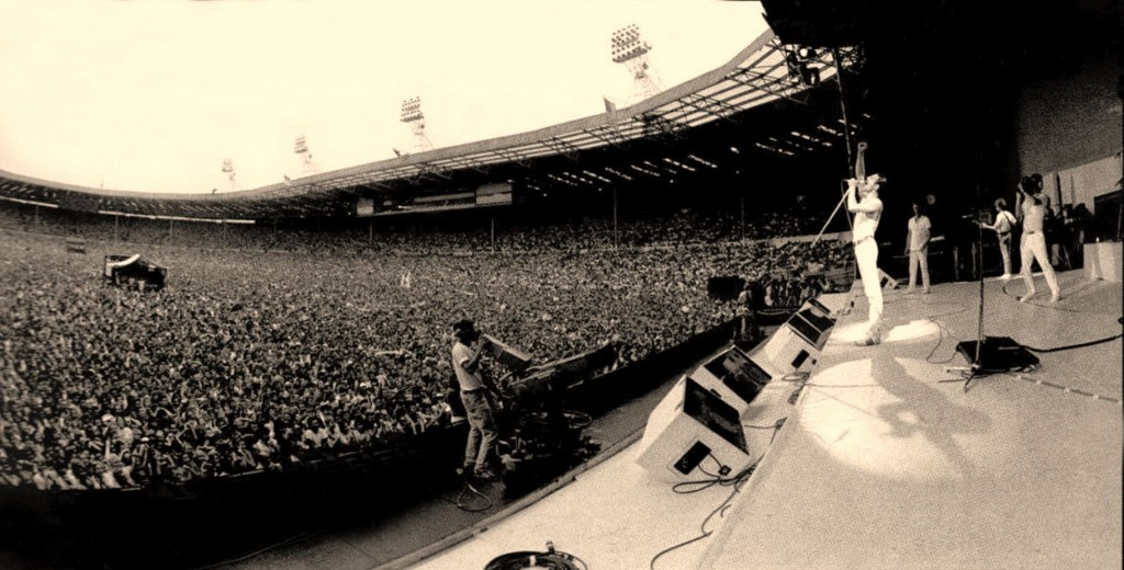 The actual Queen at the actual Live Aid concert at the actual Wembley. Image from Attitude