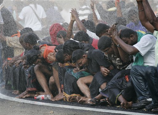 During the 2007 HINDRAF rally. Image from Otago Daily Times.