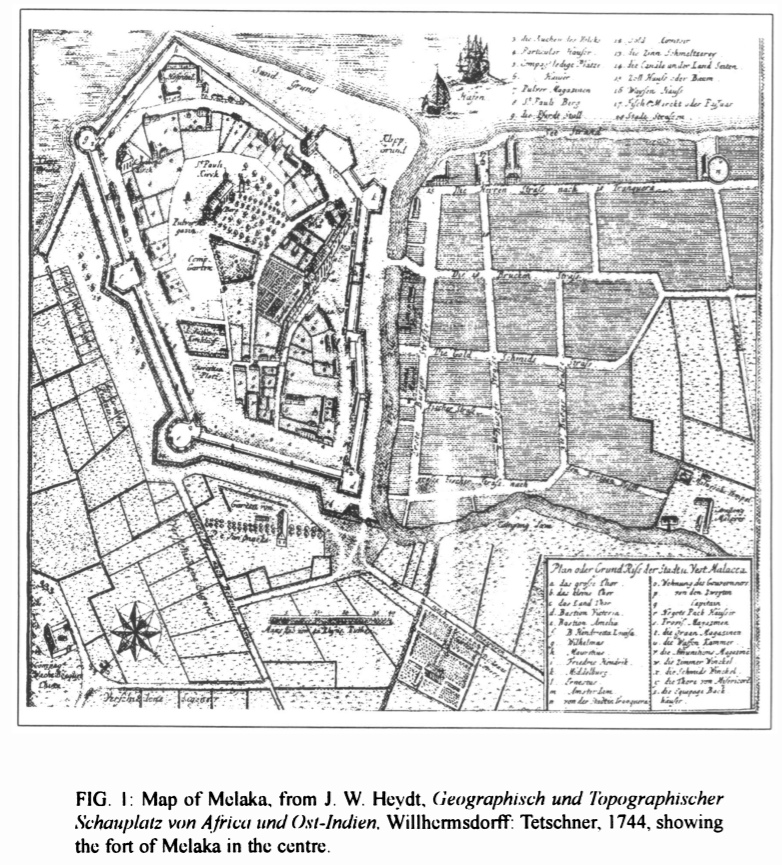 A map of Dutch Melaka, complete with walls and all. Original chart by Nordin Hussin