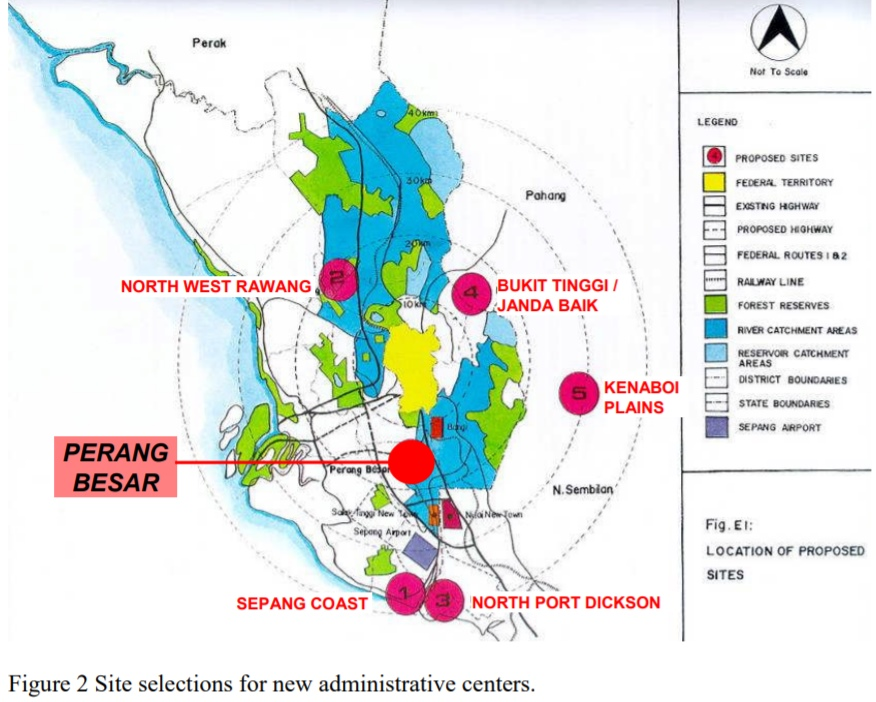 The original 6 sites. By 1993, the government had narrowed it down to two; Prang Besar and Janda Baik. Image from the Putrajaya Planning Concept and Implementation by Ho Chin Siong