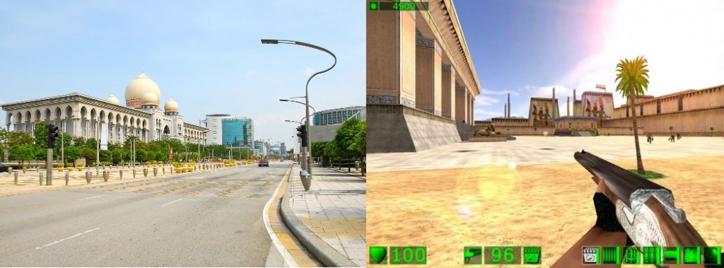 For the older gamers out there, doesn't Putrajaya look kinda like a Serious Sam level? Images from Wikicommons and Steam