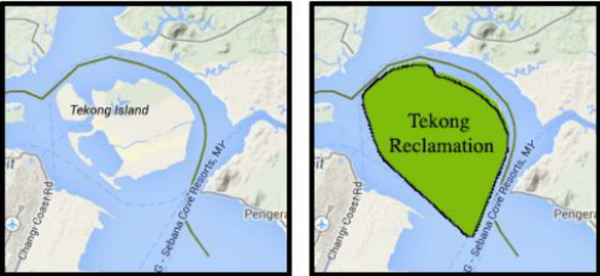 It's like rising dough. Tekong Island before and after reclamation, according to a CEBM comference paper.