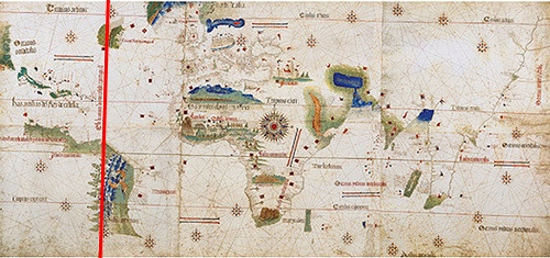 The Pope literally drew a line, gave everything to the West to Spain and East to Portugal. Unedited image from Guampedia