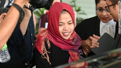 Siti Aisyah leaving the Shah Alam court after her charges were dropped. Img from CNN.