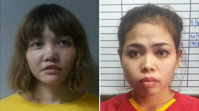 Doan Thi Huong (left) and Siti Aisyah (right), from a 2018 report. Img from BBC.