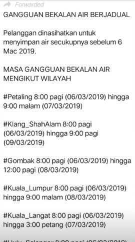 The WhatsApp forward message. Image from the Real Fake News Malaysia Facebook group post.