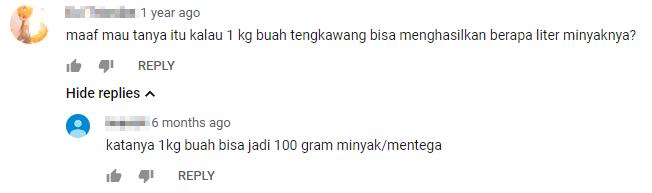 minyak engkabang youtube comment
