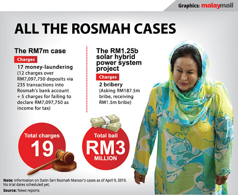 Rosmah's charges. Infographic from MalayMail