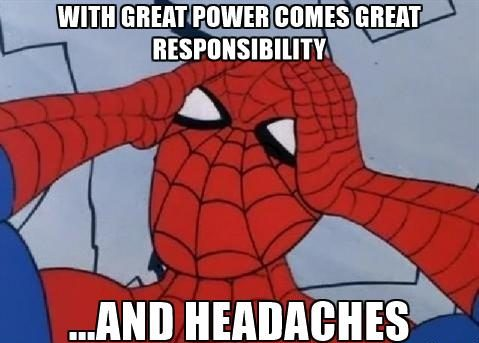 Spiderman is a drama queen, because he can't get sued. Img from Viral Thread.