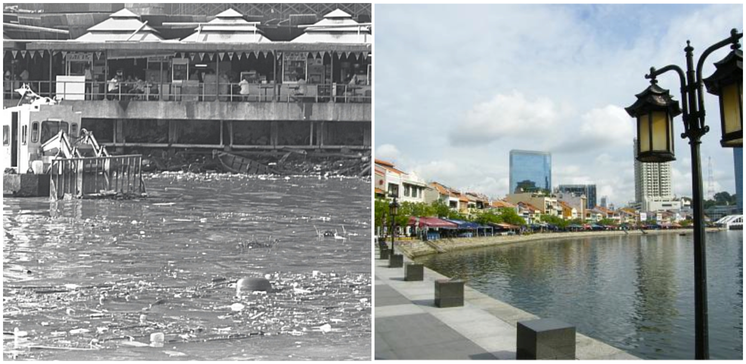 Singapore river before (left) and after the clean up. Images from Straits Times and ssa1207photoessay.wordpress.com