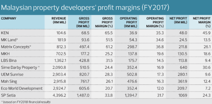 The profit margins of several property devs in Malaysia. Image from Edge Prop