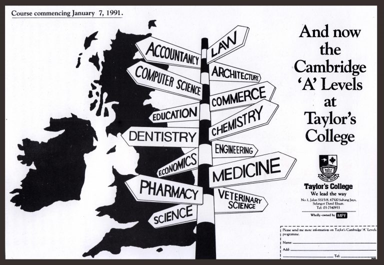 Programmes in Taylor's in 1991. Image from Taylor's.