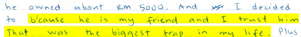 Part of Bala's letter.