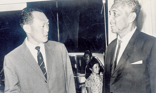 Lee Kuan Yew (left) and Yusof Ishak (right) were once associated with Utusan.