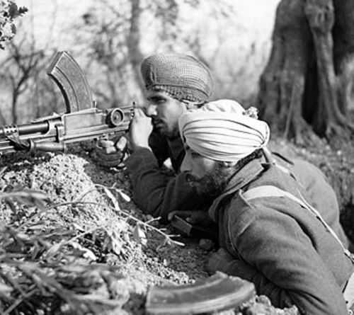 Sikh Regiments were also absorbed into the legendary 8th British Army, famous for fighting the Italians in WWII. Image from: Once Upon A Time In War