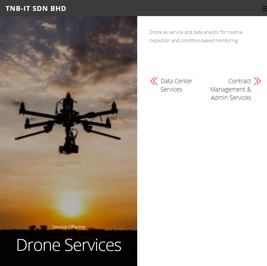 TNB's drone services webpage. Screenshot from TNB-IT