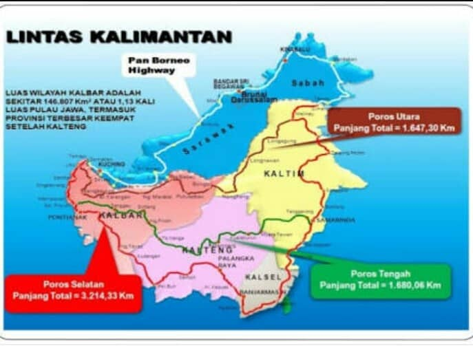 Plans for the Pan Borneo/Trans Kalimantan highways, showing how the two will be connected. Image from: Quora