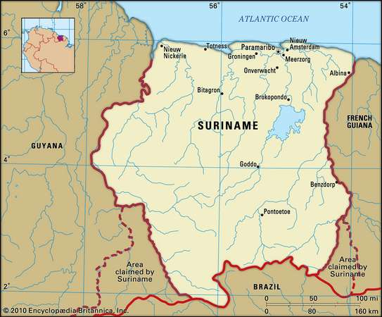 Suriname is considered as part of the Caribbean, bordering Brazil. Img from EncyclopediaBritannica.