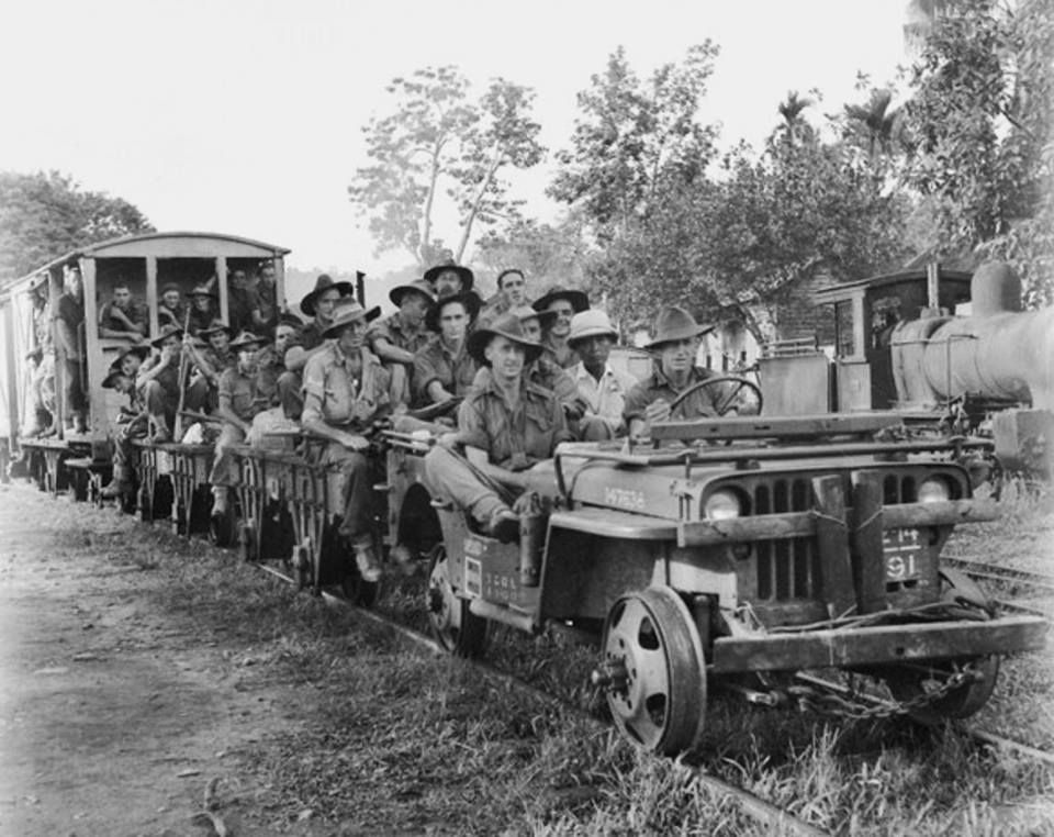 A jeep train, like this one used by Australian soldiers in Beaufort, were used during the WW2 era. Img from Pinterest.