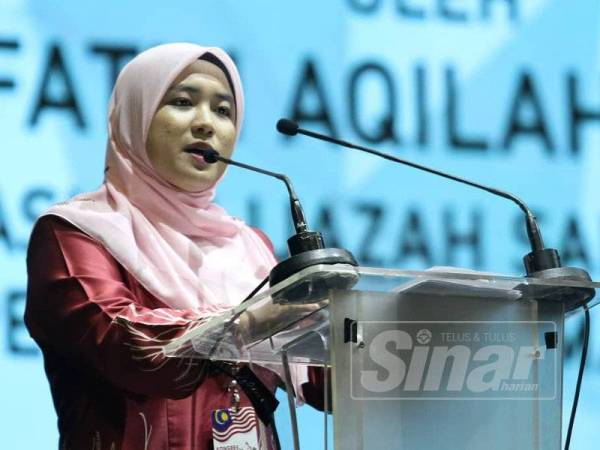 The presenter for the education cluster, Nurul Fatin Aqilah Rahim. Img from Sinar Harian
