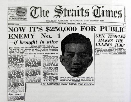 A 1952 ewspaper clipping showing a bounty for the capture of Chin Peng. Image from: The Rakyat Post/Wikipedia
