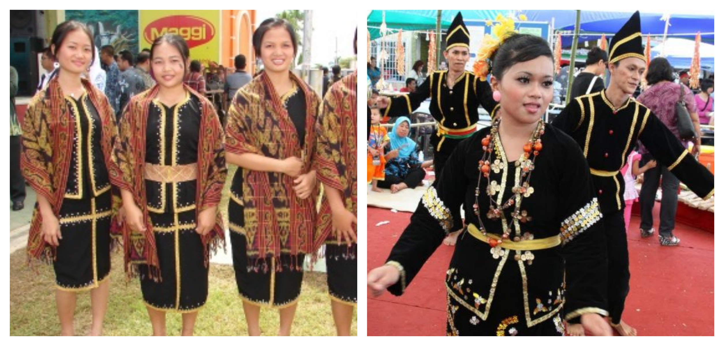 The Dusun people (left) and Orang Sungai (right). Images from mysabah.com and Rustic Borneo