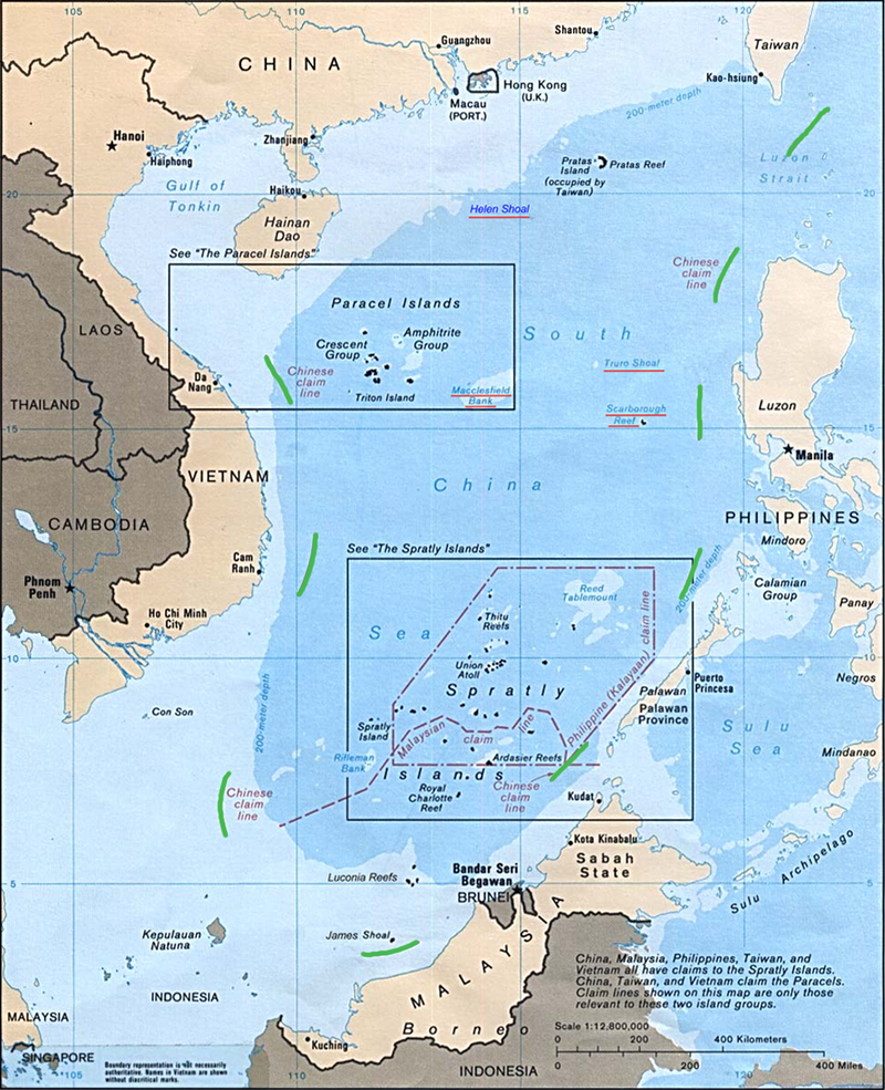 China's nine-dash line, highlighted in green. Image from: CIA
