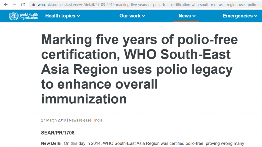 Well, this article didn't age well. Image from: World Health Organization