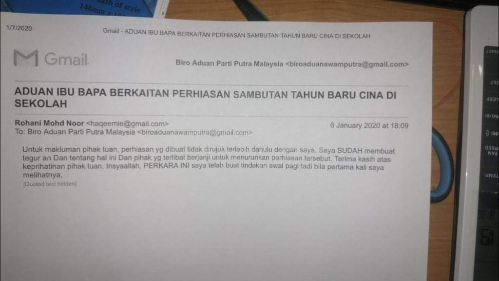 The apparent email from the school's principal. Img from @syedamiruledros Twitter