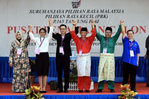Tg Piai PH, BN, Gerakan, Berjasa, and Independent candidates. Image from The Straits Times