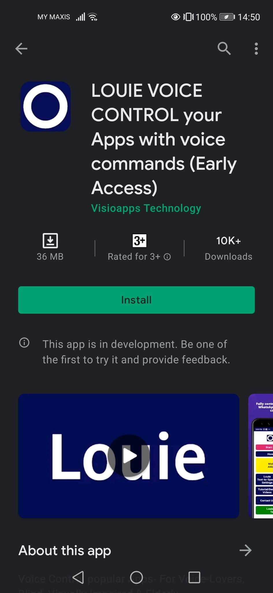 Screenshot of Louie Voice Control on Google Play Store.
